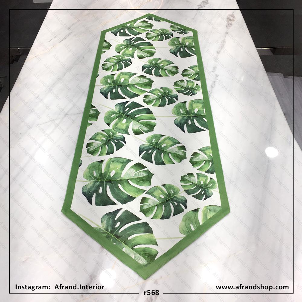 رانر گوشه مثلثی برگ انجیری سبز و سفد مخمل و تانسو