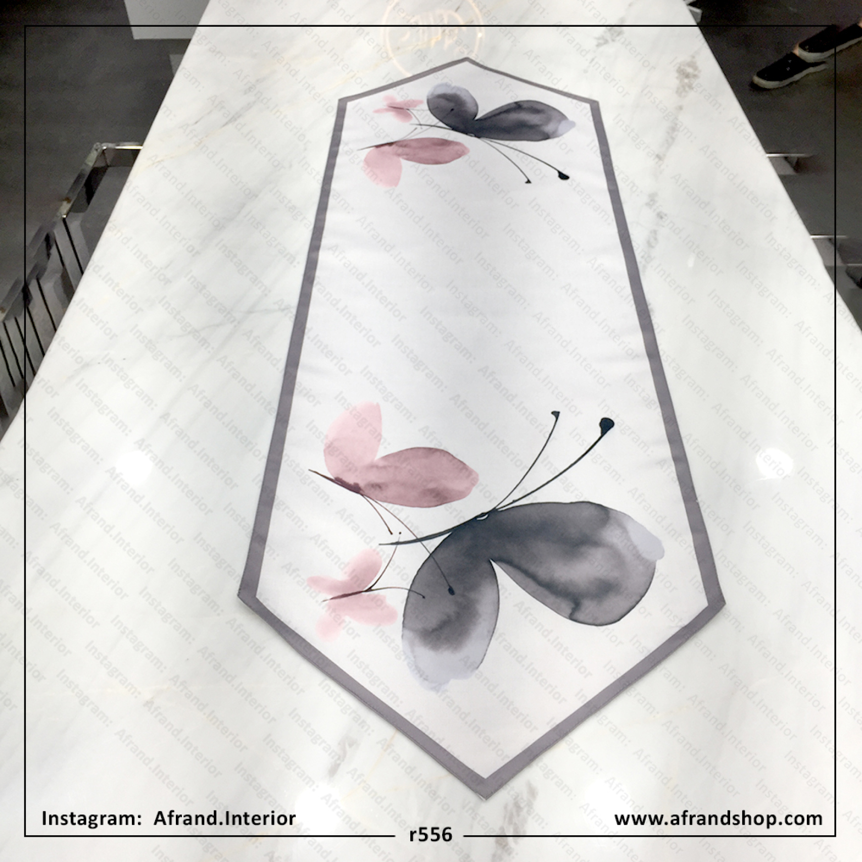 رانر پروانه توسی و صورتی مخمل و تانسو برای میز ناهارخوری و اوپن
